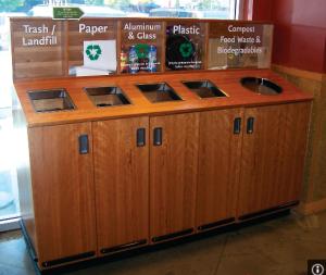 Recycling Bins ina restaurant setting
