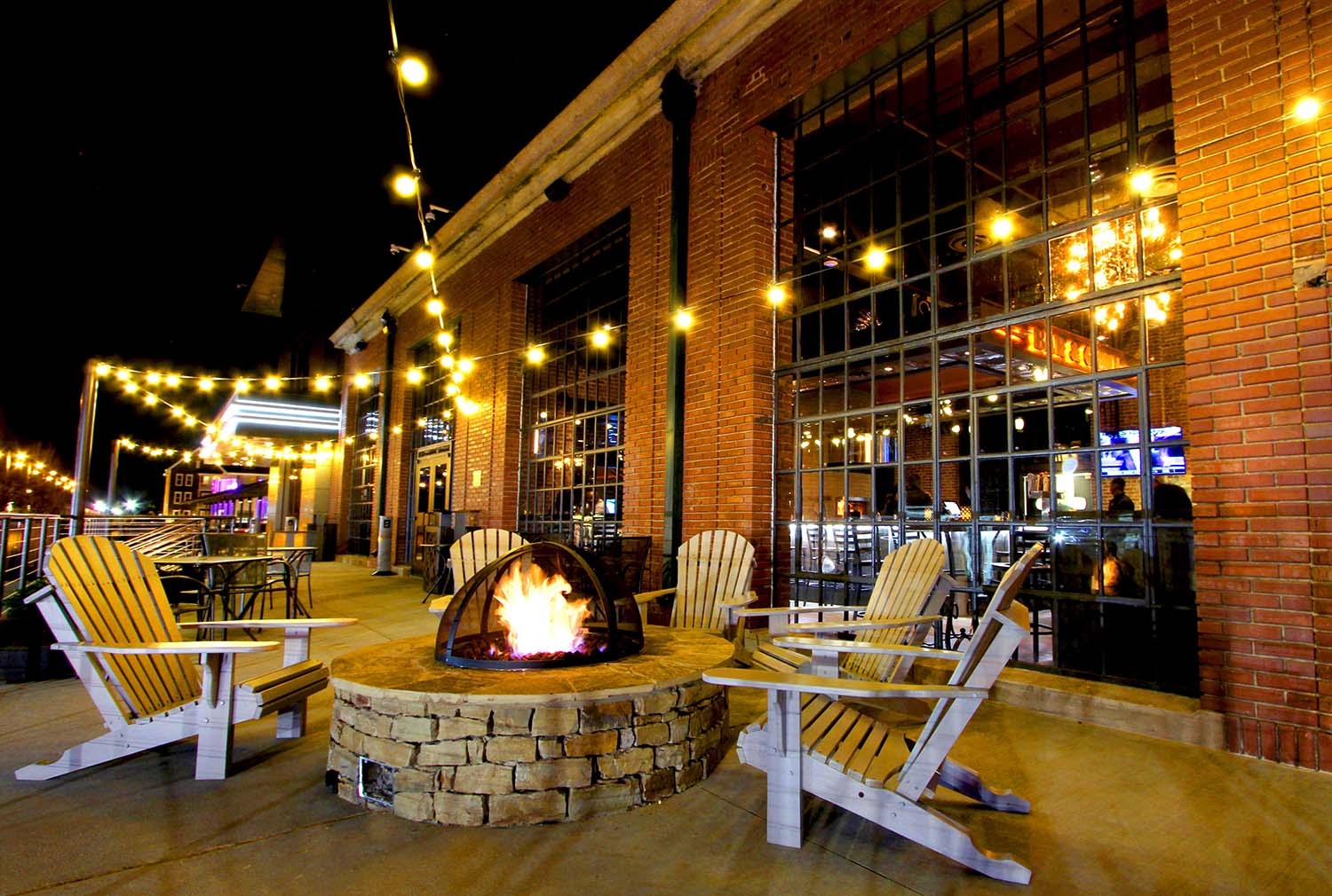 Patio seating with fire pit.
